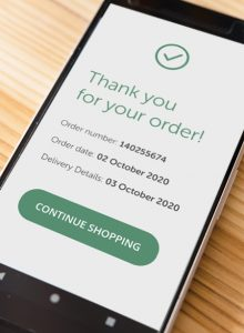 Order confirmation on smart phone